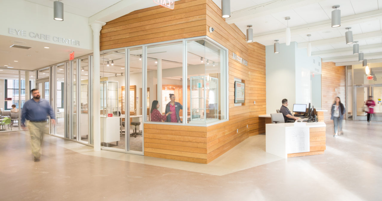 New Construction Health Center Welcome Desk Architecture LCHC